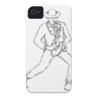 Carcasa Para iPhone 4 Músico de jazz que toca el saxofón Monoline