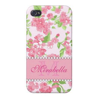 Carcasa Para iPhone 4 Nombre de ramas rosado del flor de la acuarela de