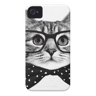 Carcasa Para iPhone 4 pajarita del gato - gato de los vidrios - gato de