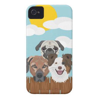 Carcasa Para iPhone 4 Perros afortunados del ilustracion en una cerca de