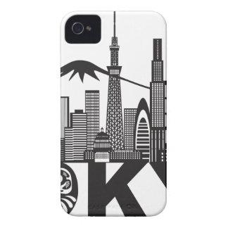 Carcasa Para iPhone 4 Texto del horizonte de la ciudad de Tokio blanco y