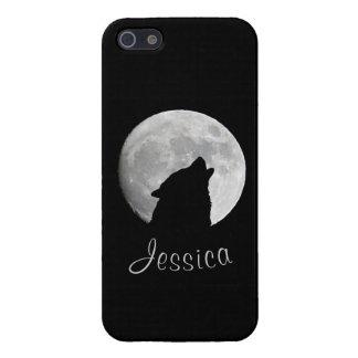 Carcasa Para iPhone 5 Lobo que grita en la Luna Llena, su nombre
