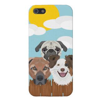Carcasa Para iPhone 5 Perros afortunados del ilustracion en una cerca de