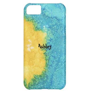 Carcasa Para iPhone 5C Acuarela azul/amarilla
