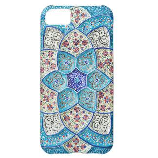 Carcasa Para iPhone 5C Azules turquesas marroquíes tradicionales, blanco,
