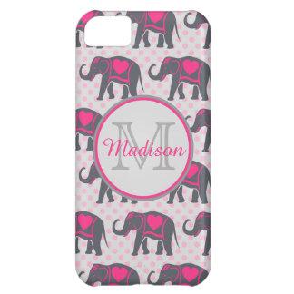 Carcasa Para iPhone 5C Elefantes de rosas fuertes grises en los lunares
