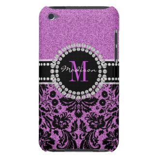 Carcasa Para iPod Damasco púrpura, nombre y monograma del brillo de