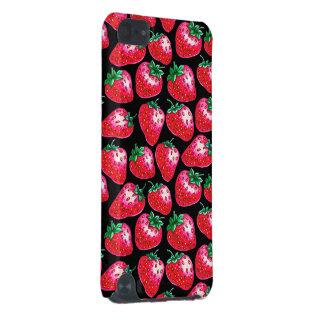 Carcasa Para iPod Touch 5G Fresa roja en fondo negro