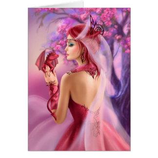 Carde la reina hermosa de la mujer de la fantasía tarjeta de felicitación
