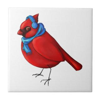 Cardenal del invierno azulejo de cerámica