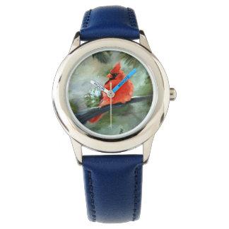 Cardenal del invierno reloj de pulsera