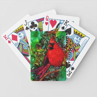Cardenal en el árbol baraja de cartas bicycle