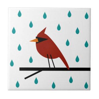 Cardenal en la lluvia azulejo
