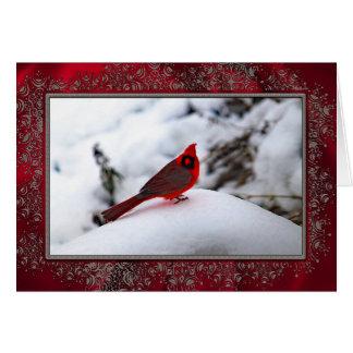 Cardenal en la tarjeta de Navidad de la nieve 6243