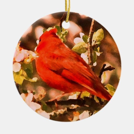 Cardenal en los flores de Apple Adornos De Navidad