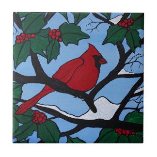 Cardenal rojo del navidad azulejo de cerámica