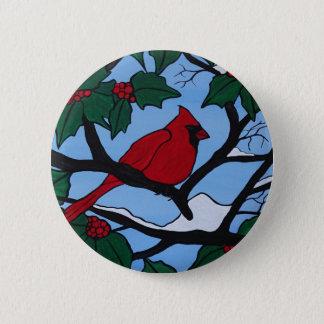Cardenal rojo del navidad chapa redonda de 5 cm