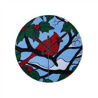 Cardenal rojo del navidad reloj redondo mediano