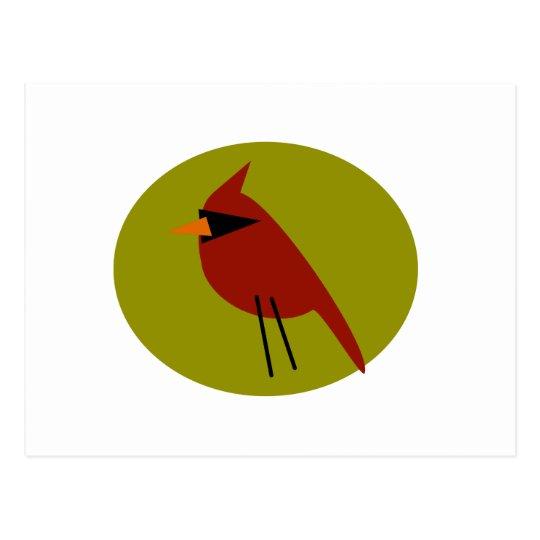 Cardenal rojo en verde verde oliva postal