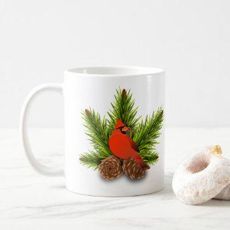 Cardenal y taza del día de fiesta del navidad de