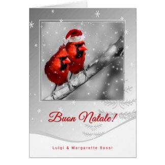 Cardenales de lengua italiana del rojo del navidad tarjeta de felicitación