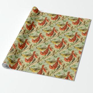 Cardenales del vintage papel de regalo