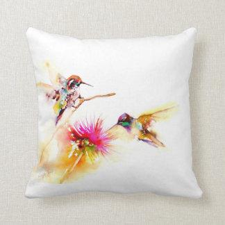 """""""Cardo para"""" impresión del colibrí dos encendido Cojín Decorativo"""