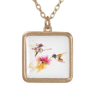 """""""Cardo para"""" impresión del colibrí dos encendido Collar Dorado"""