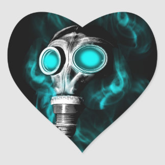 Careta antigás pegatina en forma de corazón
