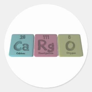 Cargo-Ca-Rg-O-Calcium-Roentgenium-Oxygen.png Pegatina Redonda
