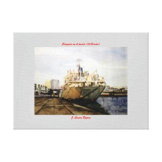 Carguero en el puerto (A Coruña) Impresion En Lona
