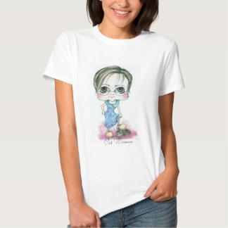 Caricatura de la mujer con el gato camisas
