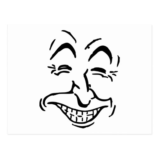 Caricatura de risa de la cara postales