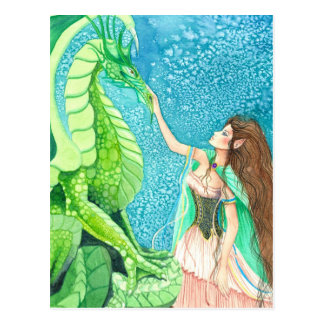 caricia del dragón esmeralda postal
