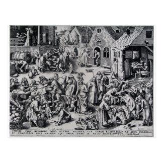 Caridad de Pieter Bruegel la anciano Postal