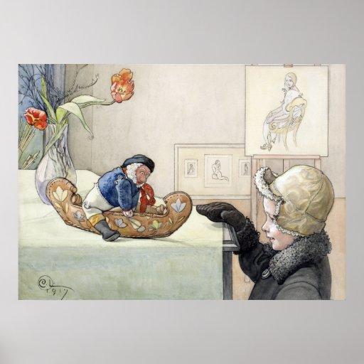 Carl Larsson el poster divertido 1917 de la