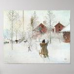 Carl Larsson - jardín y la casa del lavado Poster
