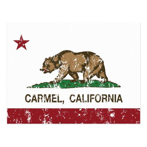 carmel de la bandera de California apenado Tarjetas Postales
