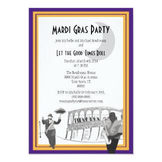 Carnaval del jazz de New Orleans (púrpura) Invitación 12,7 X 17,8 Cm