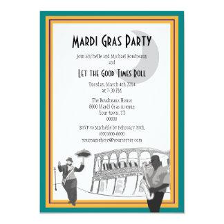 Carnaval del jazz de New Orleans (verde del Invitación 12,7 X 17,8 Cm