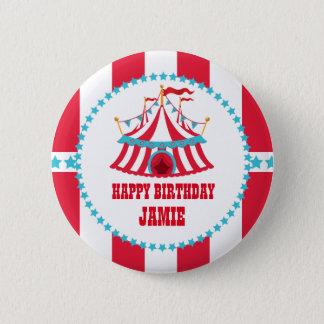 Carnaval o tienda de circo, botón del cumpleaños