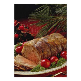 Carne asada de carne de vaca cortada con las manza invitacion personalizada