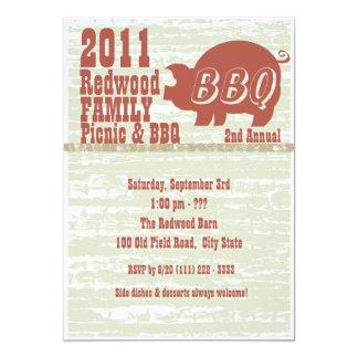 Carne asada del Bbq o del cerdo Invitación 12,7 X 17,8 Cm