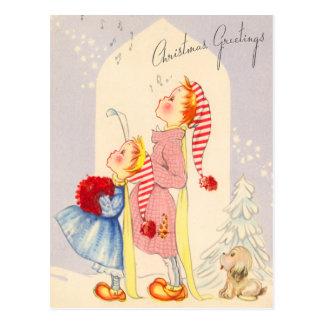 Carolers cantantes lindos del navidad postal