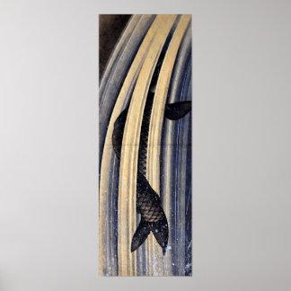 Carpa de Hokusai que salta encima de una cascada Póster