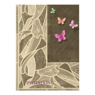 Carpa y mariposas del ~ del ejemplo del estilo del invitacion personalizada