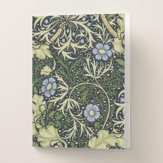 Carpeta Con Bolsillos Arte floral del vintage del modelo de la alga