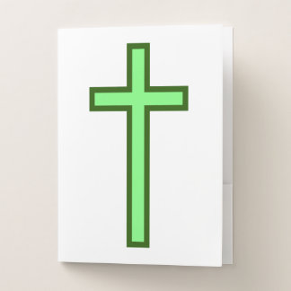 Carpeta Con Bolsillos Cruz cristiana coloreada verde simple