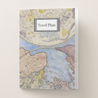 Carpeta Con Bolsillos Detalle de los planes de viaje del mapa de Viejo
