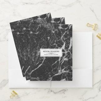Carpeta Con Bolsillos Falso acento blanco de mármol negro y gris